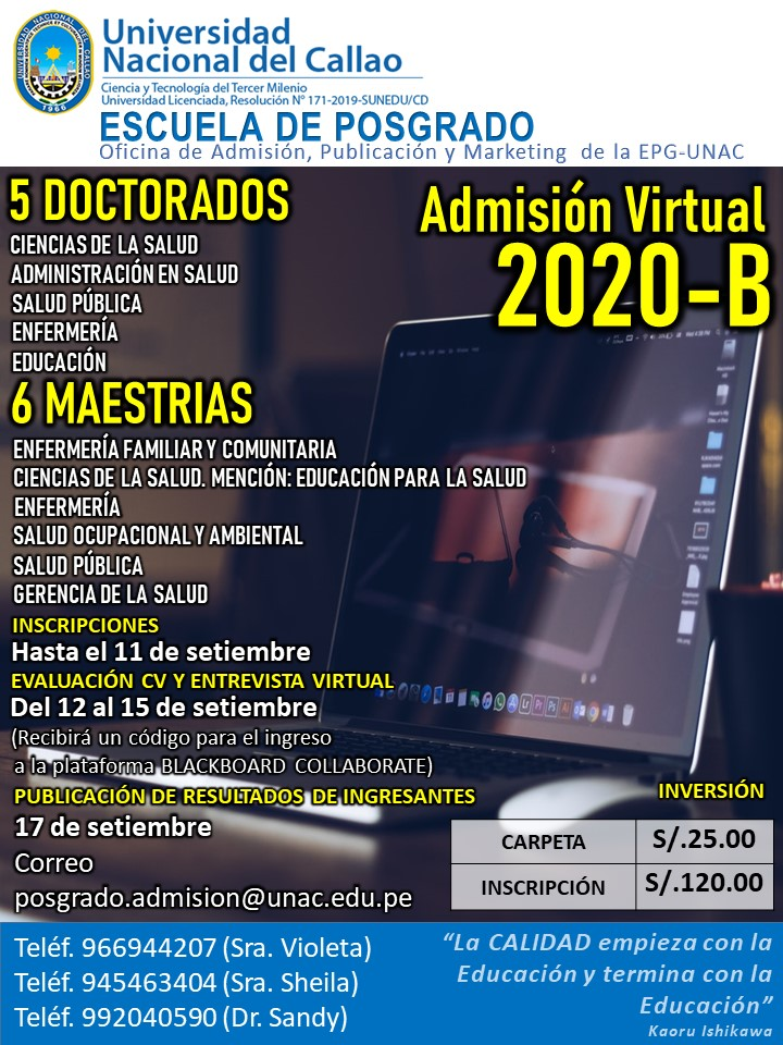 noticia admision virtual 2020 b posgrado